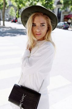 Still loving my classic YSL bag! Perfect size for everyday and going out. I matched it with a white dress and a khaki fedora hat. See more on my blog: http://isabellathordsen.dk/