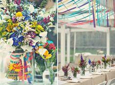 Wildflowers & Ribbon #wedding #inspiration #hippie #boho #bohemian #color #colorful #flowers #decor by debra