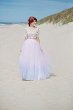 Serenity  ombre bridal tulle skirt / tulle skirt with a slit
