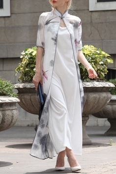 Differentes White Printed Long Cardigan With Cami Dress   Maxi Dresses at DEZZAL Click on picture to purchase!