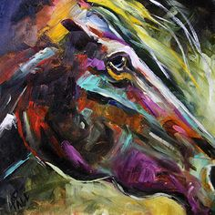 Texas Contemporary Fine Artist Laurie Pace: Determined Horse Painting by Texas Artist Laurie Pace