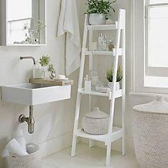 Bathroom Ladder Shelf, White