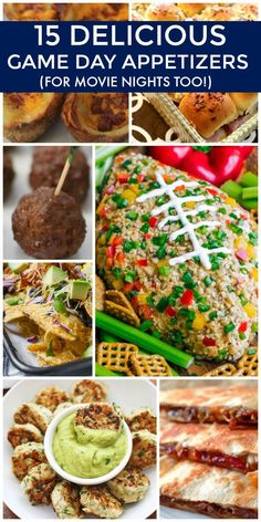 See these 15 Delicious Game Day Appetizers (perfect for movie night too!) Football and comfort food go hand in hand and these 15 yummy recipes will be sure to please your family and friends! For a large party, tailgating or any time. Includes dips, cheese balls, quesadillas, meatballs and other appetizer recipes.