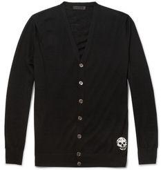 Alexander McQueenSkull-Embroidered Fine-Knit Cashmere Cardigan|MR PORTER