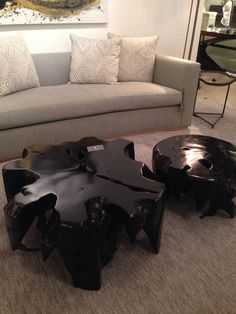 Lacquered stump coffee table