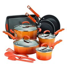 Rachael Ray 14-Piece Hard Enamel Nonstick Cookware Set, Orange ** New and awesome product awaits you, Read it now  : Cookware Sets