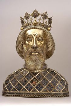 Reliquary bust of Szent Laszlo (St. Ladislas) from Várad cathedral Győr, Cathedral Treasury Medieval World, Medieval Art, Medieval Jewelry, Gyr, Sculpture Head, Religion, Historical Artifacts, Religious Art, Religious Icons