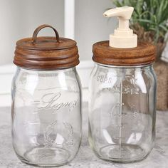Rusty Tin Dispenser and Storage Mason Jar Set