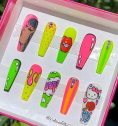 Pop Art Nails, Drip Nails, Neon Nails, Crazy Nail Designs, Nail Art Designs Videos, Cute Acrylic Nail Designs, Cute Simple Nails, Pretty Nails, Edgy Nails