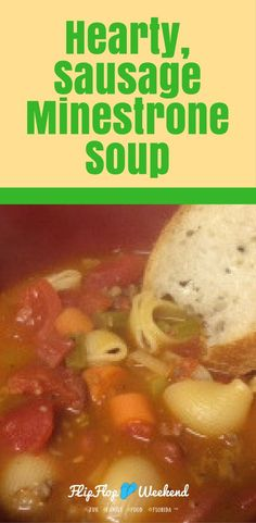 One of my favorite soup recipes- this hearty, sausage minestrone soup is quick and easy to put together using ground pork, vegetables and a couple of canned products you may already have in your pantry. #recipes #soup #souprecipes
