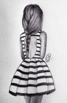 Girl fashion dress drawing stripes: