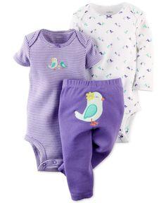 Carter's Baby Girls' 3-Piece Bird Bodysuits & Pants Set