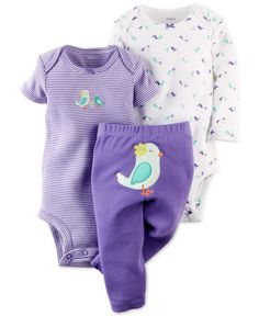 Carter's Baby Girls' 3-Piece Bird Bodysuits & Pants Set