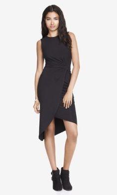 black twist midi dress from EXPRESS