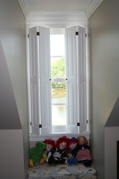 "Make these for an open indoor ""window"" to drown out noise. Use old doors to save money. Diy Shutters, Interior Shutters, Interior Windows, Indoor Shutters For Windows, Window Shutters Inside, Wooden Shutters, Bedroom With Bath, Basement Bar Designs, Wood Interiors"