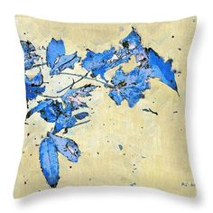 """""""Falling in Blue"""" © 2016 RC deWinter ~ All Rights Reserved  ~ This painting, a lovely semi-abstract, makes a charming autumn-themed throw pillow for contemporary decor. 14 x 14 pillow shown; other sizes available."""