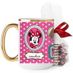 Disney Minnie And Friends Mug, Gold Handle, with Ghirardelli Peppermint Bark, 15 oz, Pink