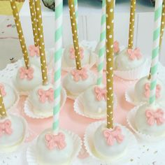 TEA PARTY! #cakepops #chocolate #bows #gold #robinseggblue