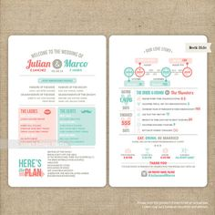 Infographic Wedding Program  Printable or by LingsDesignStudio