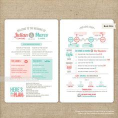 Infographic Wedding Program  Printable or by LingsDesignStudio