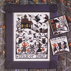 Trick or Treat - cross stitch pattern by The Prairie Schooler - A haunted house for Halloween with witches, black cats, owls and bats. Halloween Embroidery, Halloween Cross Stitches, Halloween Quilts, Halloween Crafts, Halloween Sewing, Vintage Halloween, Modern Cross Stitch Patterns, Counted Cross Stitch Patterns, Cross Stitch Embroidery