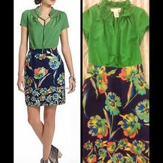 Anthropologie Tabitha Elland floral green dress Beautiful dress by Tabitha from Anthropologie which features a mock two piece of a green silk blouse with cut out detailing and a floral navy skirt bottom. Size 0 in excellent condition! Beth Bowley is recognized nationally for her ability to mix romantic styles with unexpected details, Bowley designs a collection just for us - a sweetheart of a line (think ladylike silhouettes and oh-so lovely hues) called Tabitha  By Tabitha  Side zip…