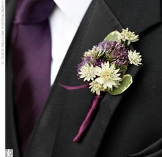 Boutonniere Ideas for your Groom - Groom & Groomsmen Boutonnieres, Purple Boutonniere, Groomsmen Boutonniere, Groom And Groomsmen, Wedding Boutonniere, Wedding Corsages, Groomsmen Outfits, Groom Attire, Wedding Bouquet
