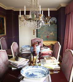 Alex Papachristidis' plum perfect dining room with Fortuny upholstered chairs