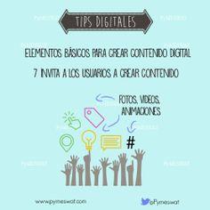 """#TipsDigitales  """"Elementos básicos para crear contendio digital-  Invita a los usuarios a crear contenido: motiva la interacción con los usuarios y que ellos se sumen a la construcción de materiales"""" Fuente: InformaBTL #MarketingDigital #Marketing #RedesSociales #SocialMedia"""