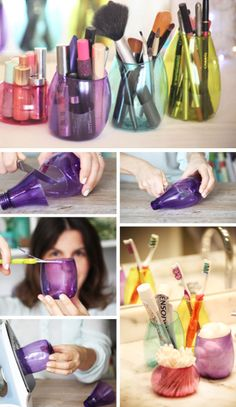 Repurpose Colorful Method Bottles | Click Pic for 18 DIY Makeup Storage Ideas for Small Bedrooms | Easy Organization Ideas for the Home