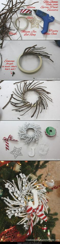 DIY Monogrammed Twig Wreath Ornament - (The little twig wreaths would be cute to decorate natural too instead of spray painting them...)