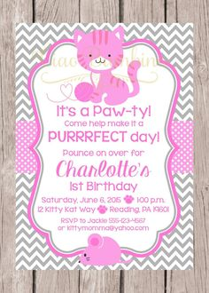 PRINTABLE Kitten Birthday Party Invitation / Pink and Gray Chevron Cat Invitation / You Print