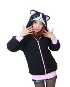 Cartoon Black Cat Sweatshirts Long sleeve with zipper hat Cosplay Black Cat Costume Men Women Hoodies Animal Cosplay Sweatshirts