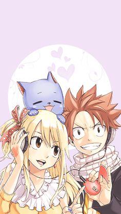 Natsu, lucy, and happy - fairy tail Natsu Fairy Tail, Fairy Tail Ships, Fairy Tail Happy, Fairy Tail Lucy, Fairy Tail Tumblr, Fairy Tail Quotes, Anime Fairy, Fairy Tail Pictures, Fairy Tail Couples