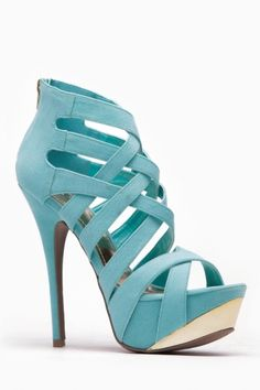 Liliana Mint And Gold Strappy Pumps ....Love this color! Think I'd call it aqua or turquoise though.