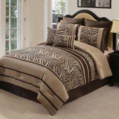 7pc Safari Comforter Set Zebra King Queen Full Size Bed In