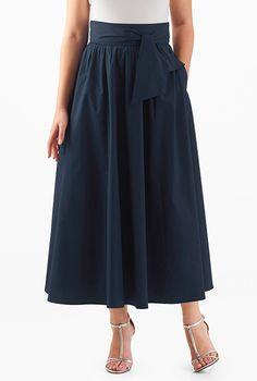 I <3 this Sash tie cotton poplin skirt from eShakti