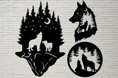 This item is a digital file. Scroll Saw Patterns, Wood Patterns, Wood Burning Patterns, Wolf Silhouette, Silhouette Cameo, Silhouette Design, Cricut Craft Room, Pyrography, Paper Cutting