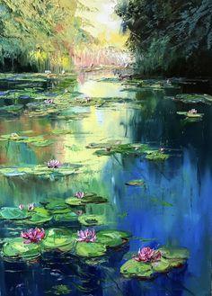 Reproduction of Monet Artist: Kseniya Shcherba Technique: Oil painting on canvas Size: x Water Lilies Painting, Pond Painting, Lily Painting, Oil Painting On Canvas, Artist Painting, Acrylic Paintings, Landscape Art, Landscape Paintings, Impressionist Art