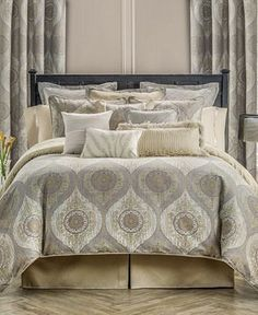 Waterford Marcello Duvet Sets Home - Bedding - Bedding Collections - Bloomingdale's Gold Bedding Sets, Elegant Comforter Sets, Queen Comforter Sets, Luxury Bedding Sets, Duvet Sets, Gray Comforter, Modern Bedding, King Duvet, California King Bedding