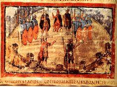 Euryalus und Nisus im Vergilius Vaticanus, Codex Vat. Lat. 3225, f. 73v