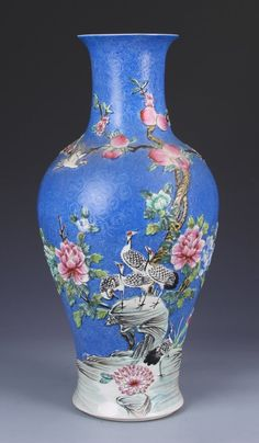 Chinese Carved Famille Rose Vase, Qianlong mark. Height: 17.1/4""