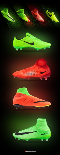 ⚡️ NEW! ⚡️ Nike Radiation Flare Pack // The second half of the season is here, and Nike Soccer has revealed a color update for their elite silos. The Radiation Flare pack marks the debut of the recently released Hypervenom 3, Mercurial Superfly V, Magista Obra & Tiempo Legend. Available now at WorldSoccerShop.com