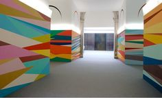 Odili Donald Odita color geometric mural at Columbus College of Art and Design A colorful wall would be so fun in a youth room. Mural Painting, Mural Art, Wall Murals, Inspiration Wand, School Murals, Geometric Wall, Geometric Designs, Marianne Design, Wall Treatments