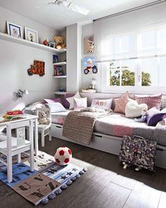 This is supposed to be a kids playroom, but I like the built in seating idea for our den.