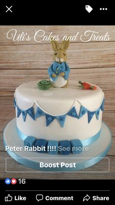 Peter Rabbit, Cute Cakes, Christening, Birthday Cake, Treats, Stylish, Desserts, Food, Sweet Like Candy
