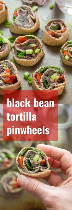 Flour tortillas spirals are stuffed with zesty whipped black beans and toppings to make these scrumptious black bean pinwheels. Perfect for party snacking or packed lunches! Vegetarian Appetizers, Vegetarian Dinners, Appetizer Recipes, Vegetarian Recipes, Healthy Recipes, Appetizer Dessert, Vegetarian Kids, Vegetarian Party Foods, Vegan Black Bean Recipes
