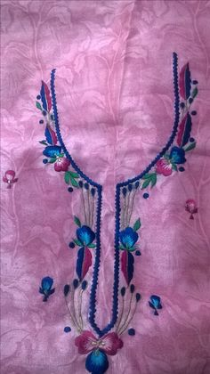 Border Embroidery Designs, Embroidery Suits Design, Shirt Embroidery, Hand Embroidery Stitches, Machine Embroidery, Embroidery Suits Punjabi, Black Diamond Jewelry, Designer Punjabi Suits, Kurti Designs Party Wear