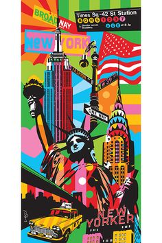 Pop Art Paintings Unique To You! Marilyn, Elvis, Bowie, Rio de Janeiro, New York among others. Custom canvas in Pop Art by the Brazilian artist Lobo. New York Painting, City Painting, Oil Painting Abstract, Artist Painting, City Art, Kobra Street Art, New York Drawing, New York Wallpaper, Pop Art Wallpaper