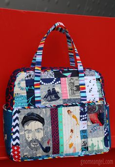 Naughty-cal Weekender by Angie Wilson at GnomeAngel.com - contains tips and tricks for making the Amy Butler Travel Weekender Bag